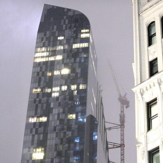 Debris plunges from Midtown NYC skyscraper after unstable crane spins around in remnants of Hurricane Zeta winds